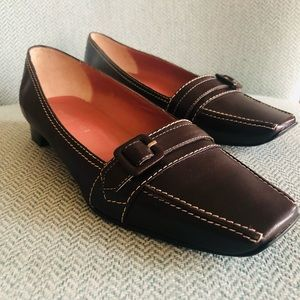 Square Toe Court Shoe Brown Leather : SPORTSCRAFT